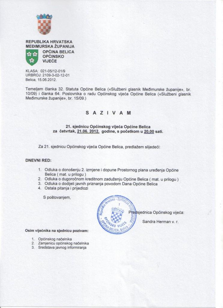 Sazvana 21. sjednica Općinskog vijeća Općine Belica