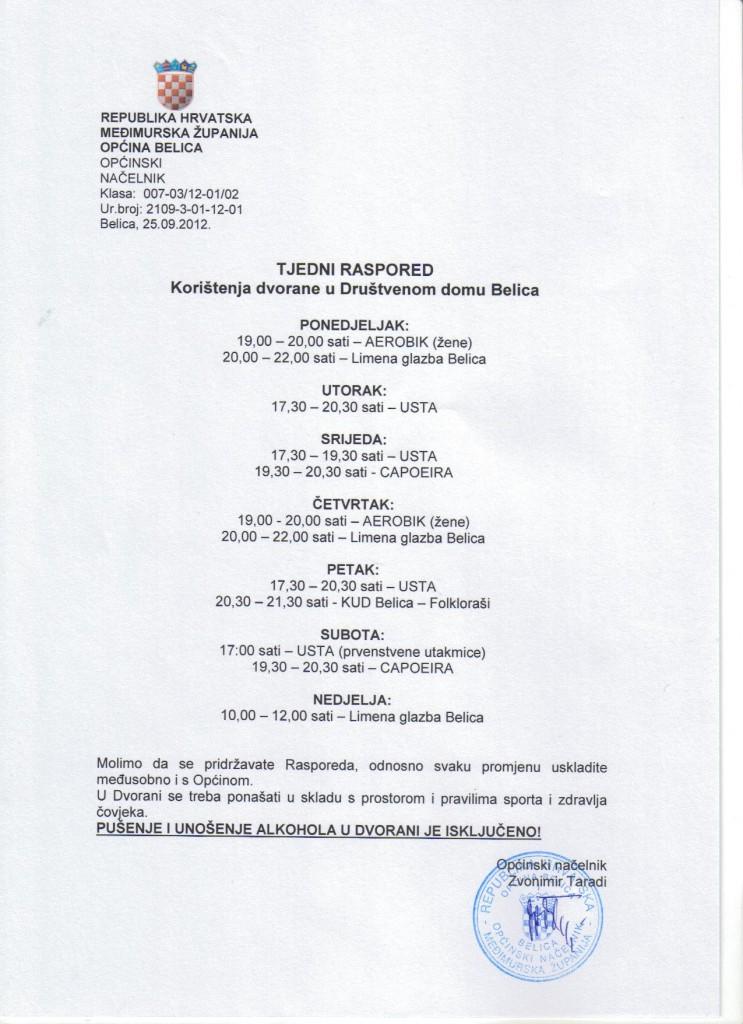 Tjedni raspored korištenja dvorane u Društvenom domu Belica