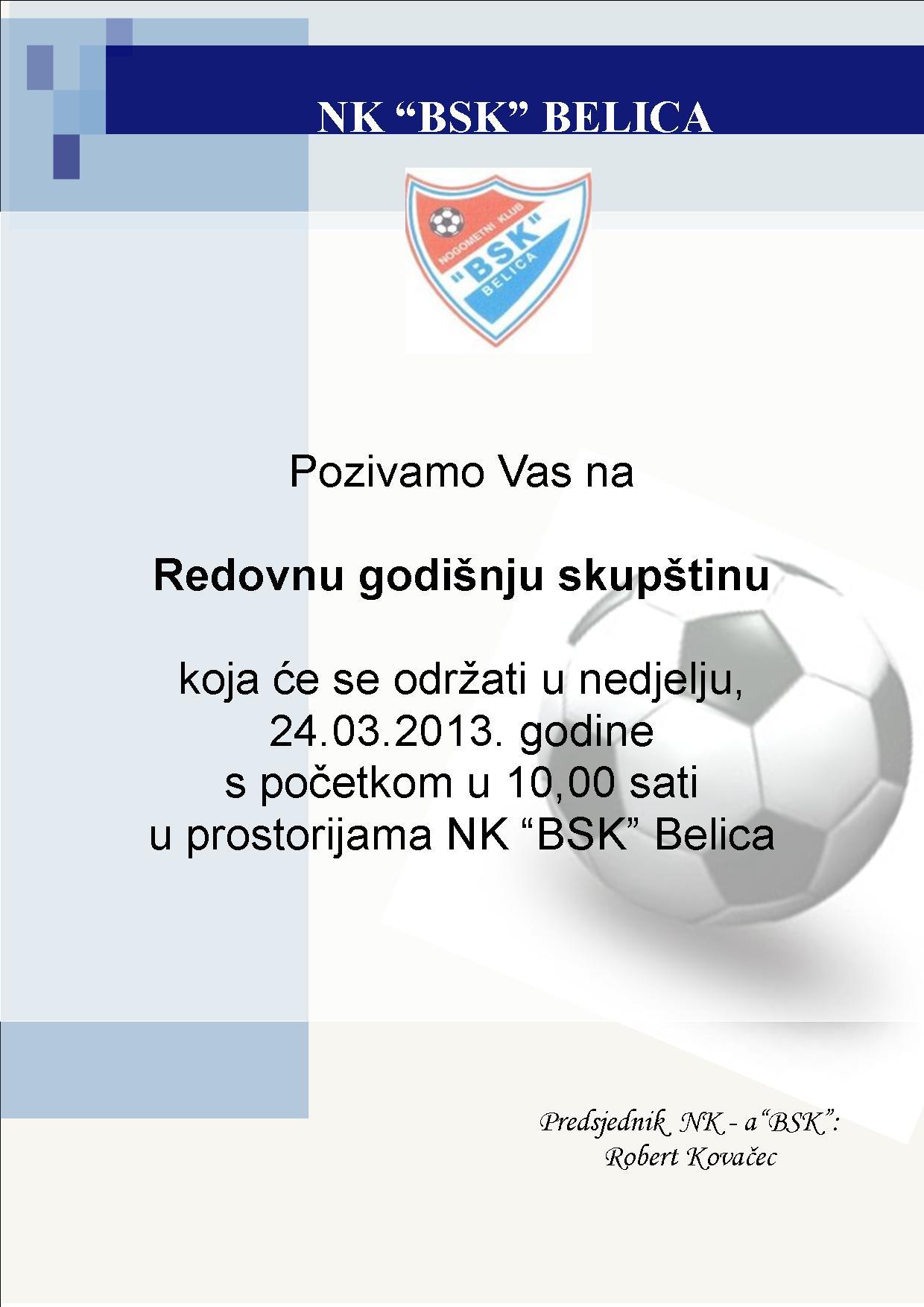 Redovna skupština NK BSK 2013