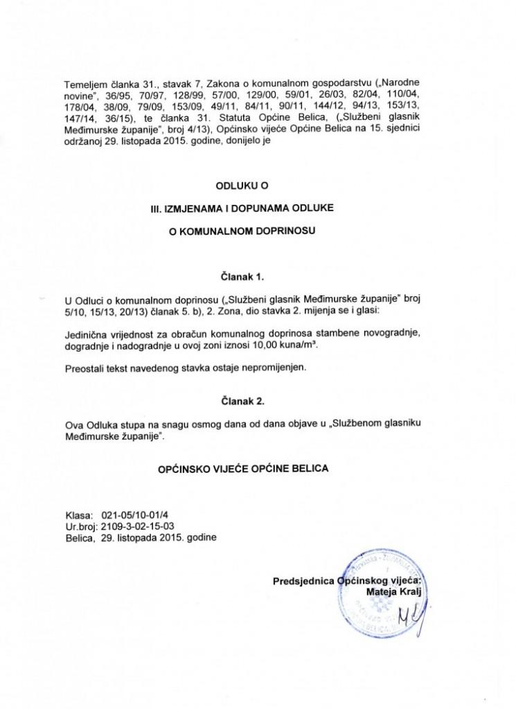 odluka o III. izmjenama i dopunama odluke o komunalnom doprinosu