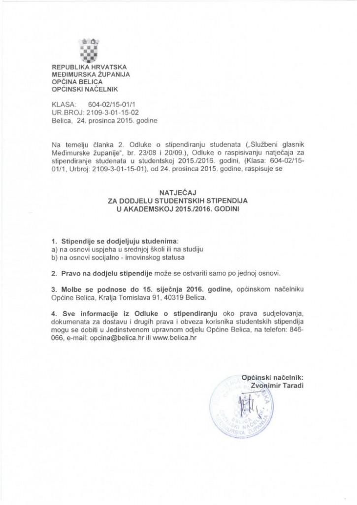 NATJEČAJ ZA DODJELU STUDENTSKIH STIPENDIJA U AKADEMSKOJ 2015.-2016. GODINI