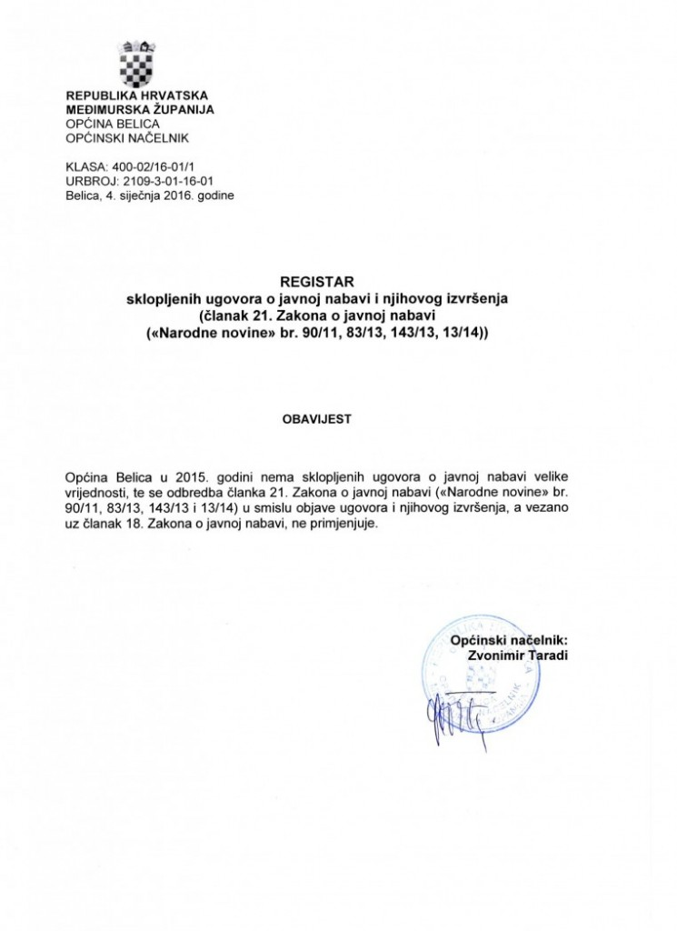 registar ugovora o javnoj nabavi velike vrijednosti