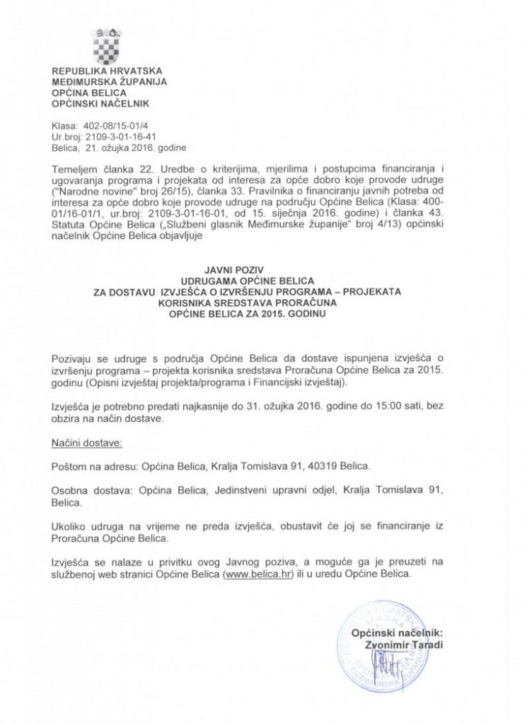 JAVNI POZIV udrugama Općine Belica za dostavu izvješća o izvršenju programa - projekata korisnika sredstava Proračuna Općine Belica za 2015. godinu