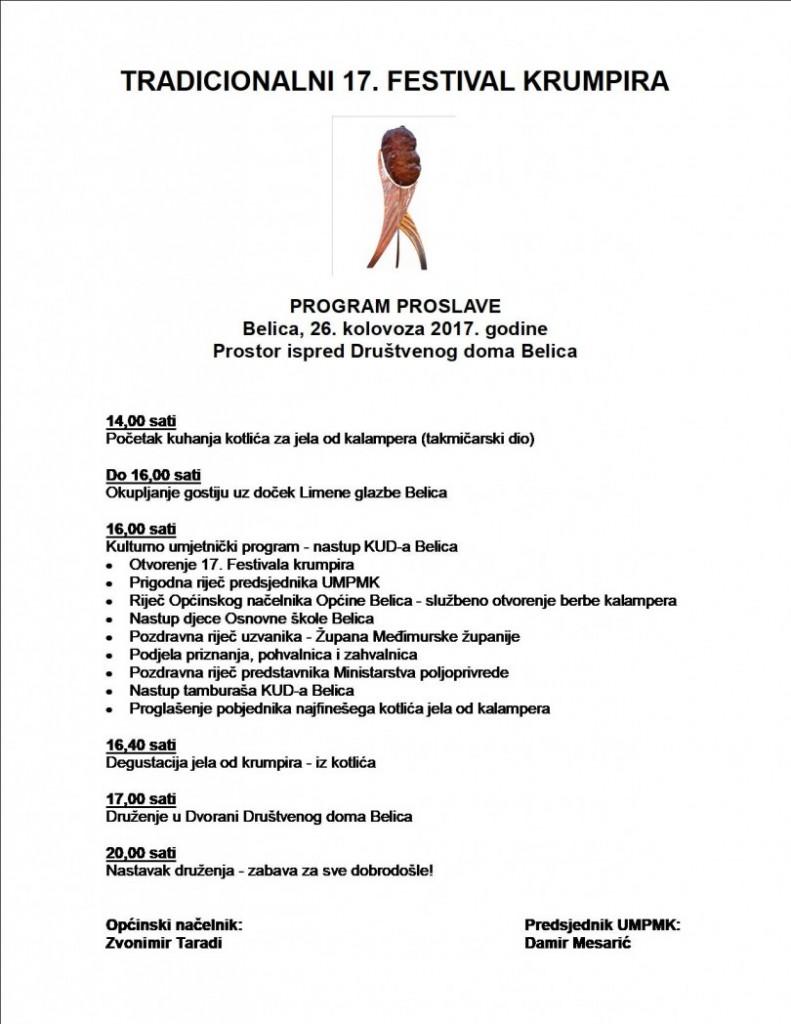 PROGRAM 17. FESTIVAL KRUMPIRA