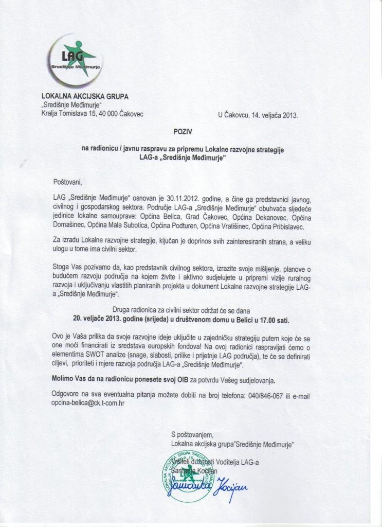 "Poziv na drugu radionicu/javnu raspravu za pripremu dokumenta Lokalne razvojne strategije LAG-a ""Središnje Međimurje"""
